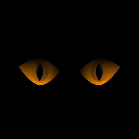 Yellow cat eyes gaze out of the darkness. Feline look of a black cat. The pupil of the eye. Black background. Kittens. Pets. Predators of the semestva kittens. Animal world. Template for text. Vector.