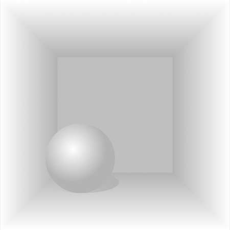 Abstract geometric shapes ball inside a square. A sphere inside a cube. Geometric shapes ball and square. Sphere and cube. Volumetric image with shadows. Place for text. Background image.