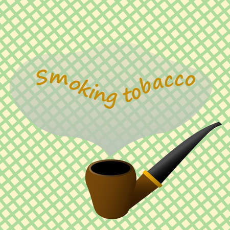 Signboard of a shop selling tobacco smoking pipes. Smoking pipe. Tobacco shop showcase. Smoker. Smoking cigarettes. The harm of nicotine. Place for your text. Passive smoker. Nicotine in a cigar. 向量圖像
