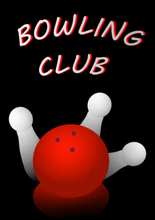 Bowling club poster with ball and pins.