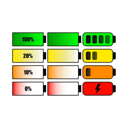 Vector set of mobile device charge indicator.