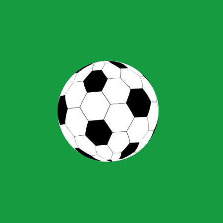 Soccer ball with white and black rhombuses. Ball for playing European football. Football sports match. Goal. 3D vector. Sports team game. Championship. Stadium. Place for text.
