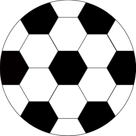 Soccer ball with white and black rhombuses. Ball for playing European football. Football sports match. Goal. Sports team game. Championship. Stadium. Place for text. Background image. Çizim
