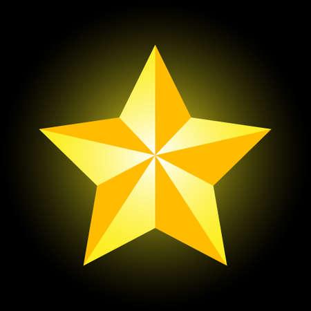 Gold superstar on a black backlit background. Superstar of success. Career growth. Ladder of success. Golden starfall. Logo. Place for text. Prize. Celebrity award. Background image.