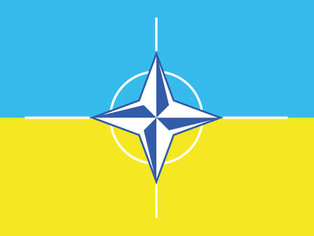 State flag of Ukraine and the official flag of NATO. Ukrainian flag. Organization of the North Atlantic Treaty. North Atlantic Alliance. Military and political alliance. International organization.