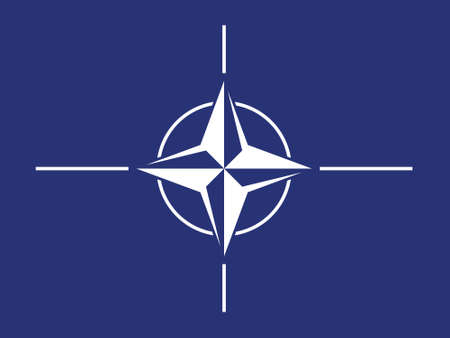 Official flag of the North Atlantic Treaty Organization. North Atlantic Alliance. Symbols of NATO. Military and political alliance. International organization. Collective defense. Rose of Wind.