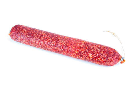 Meat product sausage on a white background. Pork sausage. Beef meat. Home kitchen. Fatty food. Unhealthy food. Calories. Showcase of a butcher's shop. White background. Stock fotó