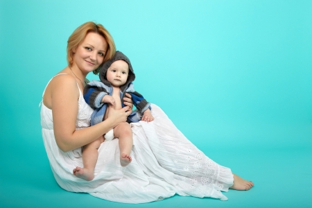 Beautiful baby and happy mother photo