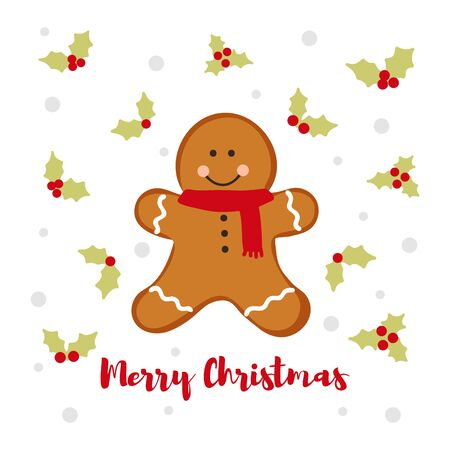 Winter card with gingerbread in the form of a Gingerbread man. Amazing holiday vector background.