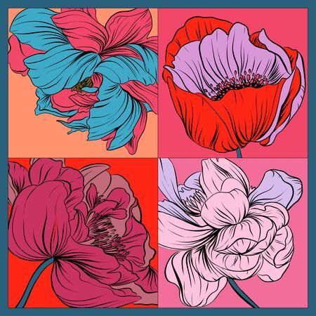 Pañuelo de seda de colores con amapolas en flor y peonías. Rosa, azul, violeta sobre rojo.