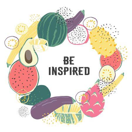 Vegetable hand drawn wreath vector illustration. Farm Market poster. Vegetarian set of organic products.