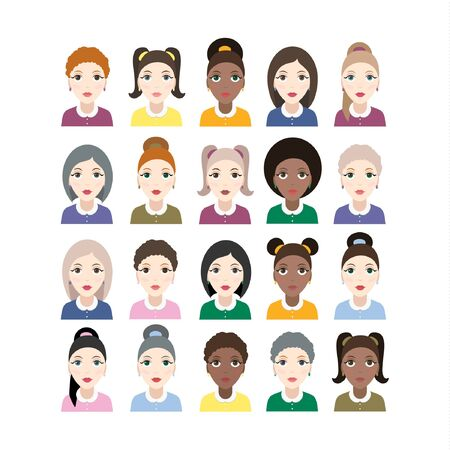 Group of diversity women with different skin color Иллюстрация