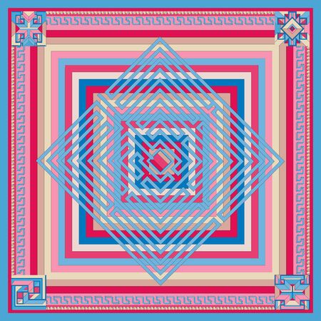 Silk scarf with a geometric pattern. Square