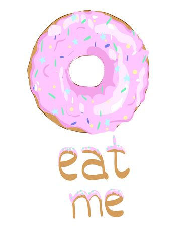 Sweet donut vector. Glaze. Eat me. Vector Image. Scalable to any size.Icon for Site