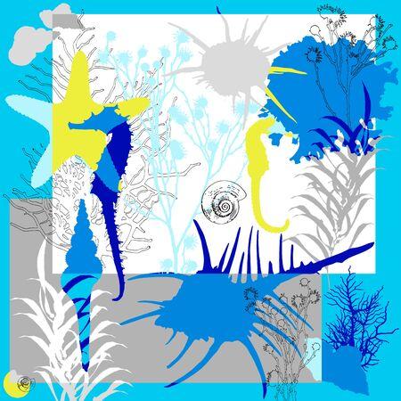 Summer retro sea print. Silk scarf vector graphics Иллюстрация