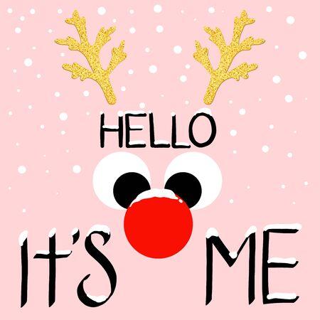 Merry Christmas greeting card with abstract deer. christmas fair. vector illustration Иллюстрация