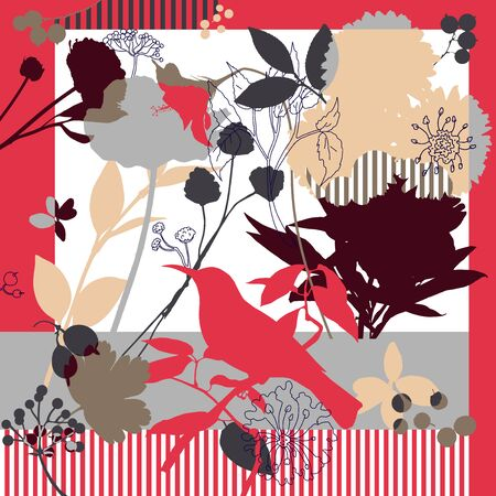 Spring retro floral print. Silk scarf