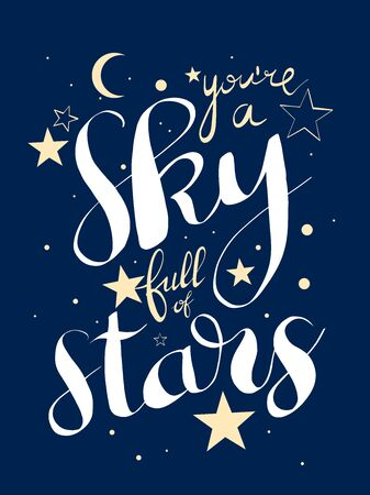 greeting card for Valentines Day with a sign youre a sky full a stars Ilustração