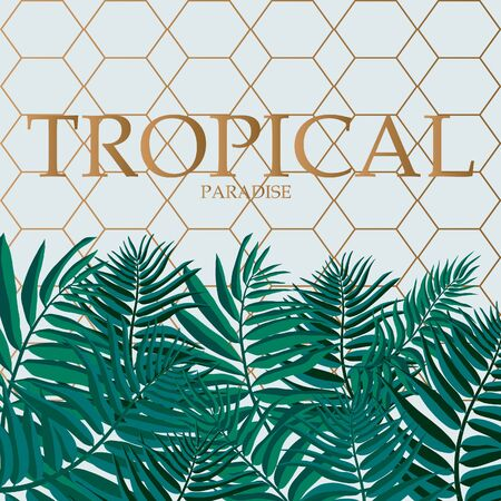 Trendy Tropical Leaves Vector Design. Palm leaves with golden abstract background.