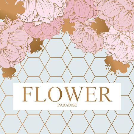 Abstract design incorporating a gold hexagon with text flower paradise in gold uppercase letters. Around the hexagons are pale pink poppies.