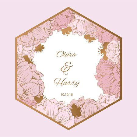 Pastel peony with golden flowers background. EPS10