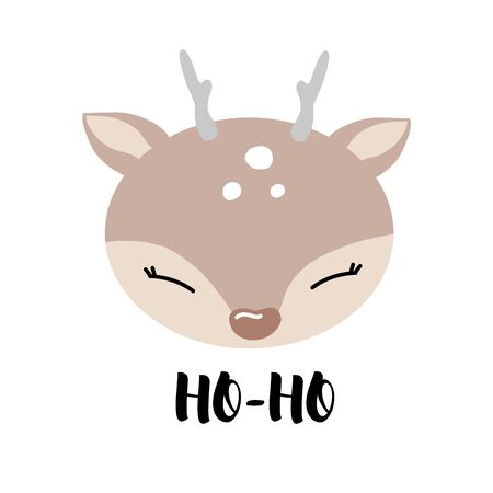 Hand Drawn  Illustration of Deer. Funny Merry Christmas card.