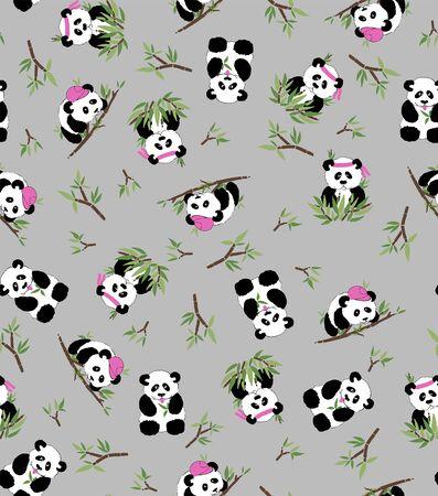 Panda and bamboo, grey background. Seamless pattern - Textil, postcards wallpaper