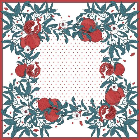 Silk scarf with pomegranate branch with fruits and flowers. Card, bandana print, kerchief design, napkin, wedding invitation, birthday, fabric, healfy food, scrapbook. Ready for print.