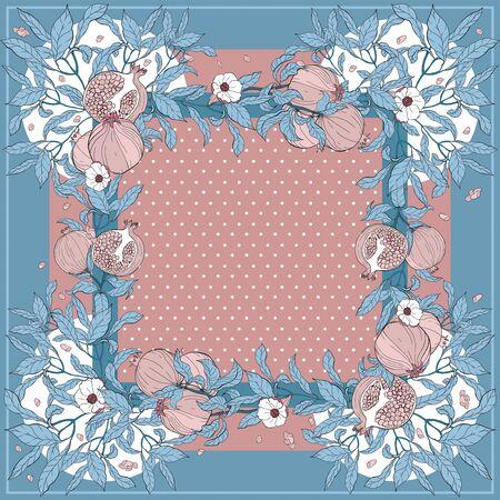 Foulard en soie avec branche de grenade avec fruits et fleurs. Carte, imprimé bandana, conception de mouchoir, serviette, faire-part de mariage, anniversaire, tissu, nourriture saine, album. Prêt pour l'impression. Vecteurs