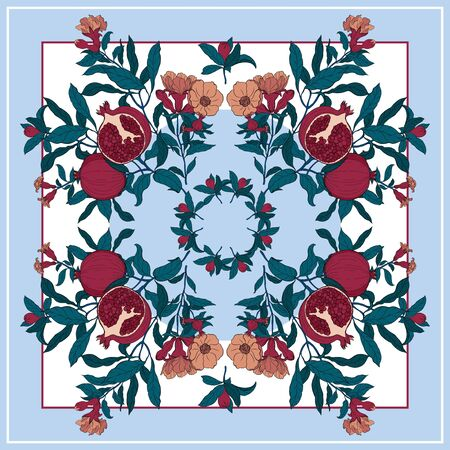 Foulard en soie avec branche de grenade avec fruits et fleurs. Carte, imprimé bandana, conception de mouchoir, serviette, faire-part de mariage, anniversaire, tissu, nourriture saine, album. Prêt pour l'impression.
