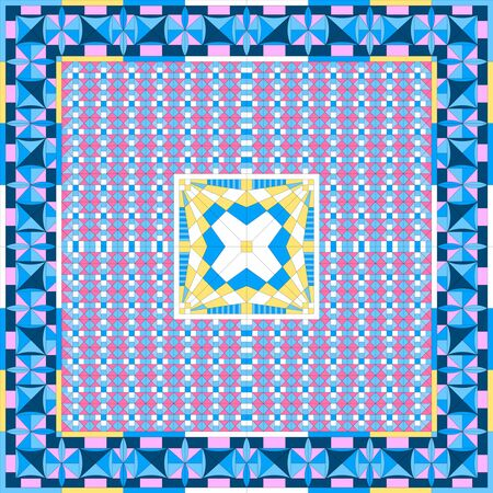 Silk scarf with geometrical pattern. Abstract vector composition with tiled cubes. Futuristic textile design collection. Illusztráció