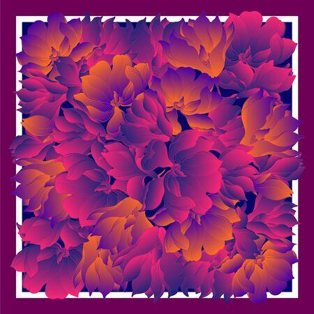 Silk scarf with hand drawn white magnolia blossom. Abstract vector with hand drawn floral elements. Card, bandana print, kerchief design, napkin. Eps10 Illusztráció