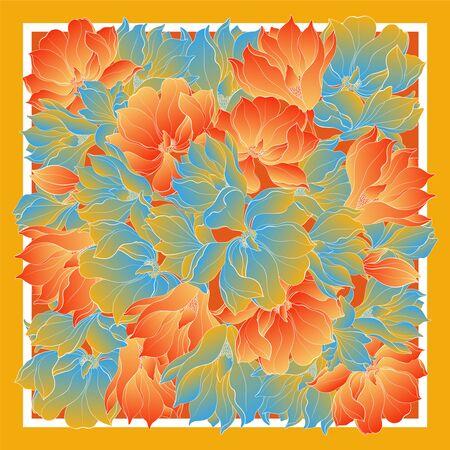 Foulard en soie avec fleur de magnolia blanche dessinée à la main. Vecteur abstrait avec des éléments floraux dessinés à la main. Carte, imprimé bandana, motif foulard, serviette de table. Eps10