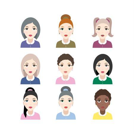 Grupo de mujeres de diversidad con diferente color de piel.
