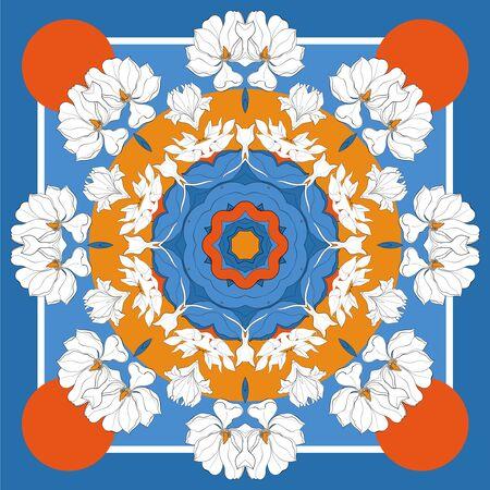 Silk scarf with hand drawn white magnolia blossom. Abstract vector with hand drawn floral elements. Card, bandana print, kerchief design, napkin. Eps8 Illusztráció