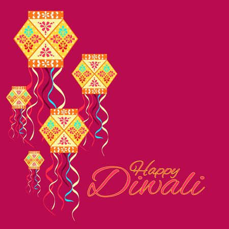 Beautiful greeting card for festival Diwali. Background bright pink.