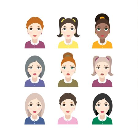 Set of woman faces with various hairstyle. Collection of young girls portraits. Vector illustration.