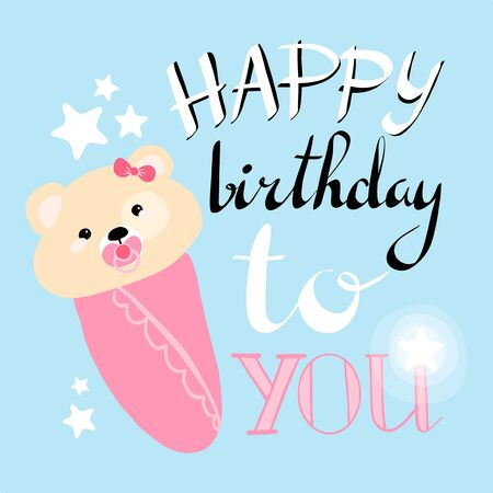 happy birthday greeting card. vector illustration. girl