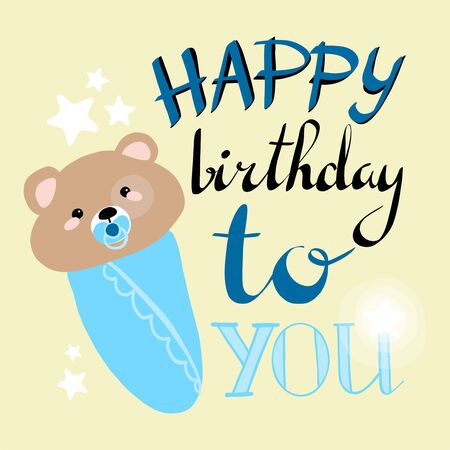 happy birthday greeting card. vector illustration. boy