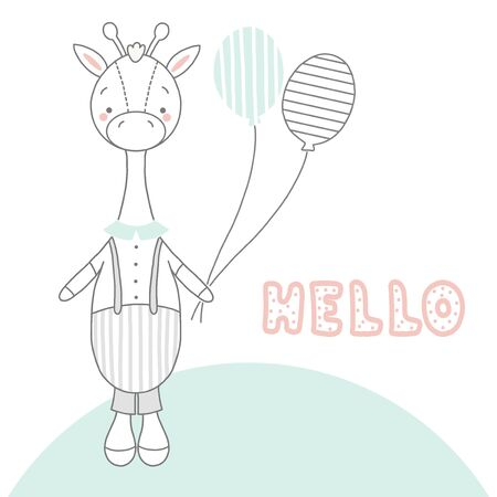 Children s card with a giraffe boy and two balloons and the words hello . A tiny giraffe in a striped jumpsuit, shirt and bow tie. Suitable for postcards, banners and baby pillows.