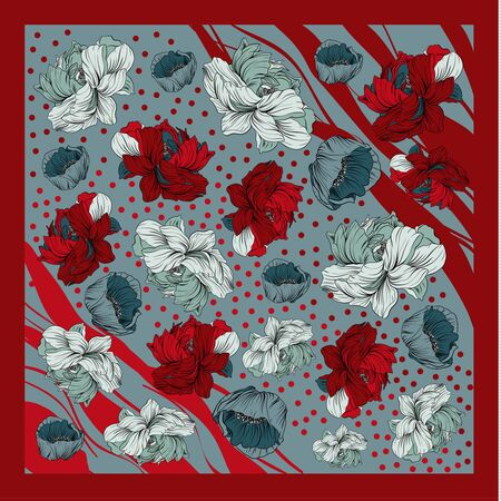 Colorful silk scarf with flowering poppy and peonies. Pink, blue, violet on white. Batik technique