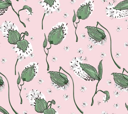Seamless pattern Vector floral design with asclepias syriaca on pale pink background
