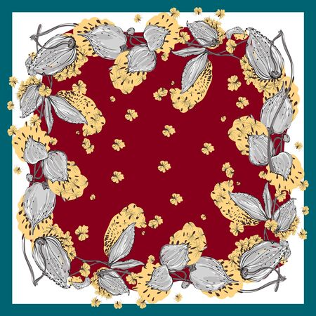 Delicate colors of silk scarf with flowering asclepias syriaca . Red, yellow and white.
