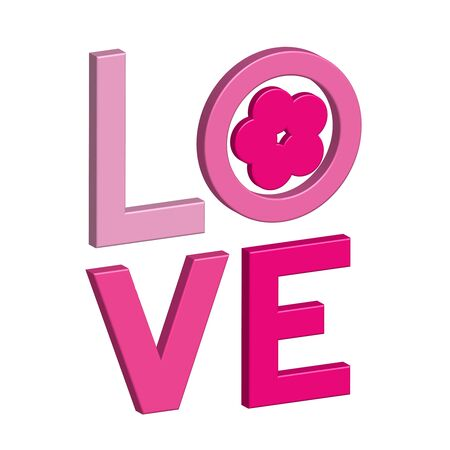 Happy Valentines day card with 3D text LOVE. Colorful lettering LOVE. Vetores