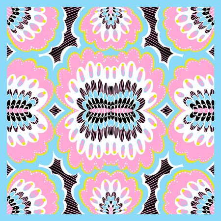 Vector abstract geometric background, colorful doodle illustration, fabric textile pattern. Bandanna shawl, tablecloth print, silk neck scarf, kerchief design Illusztráció