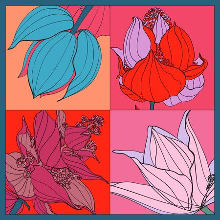 Colorful silk scarf with flowering medinilla. Pink, blue, violet on red.