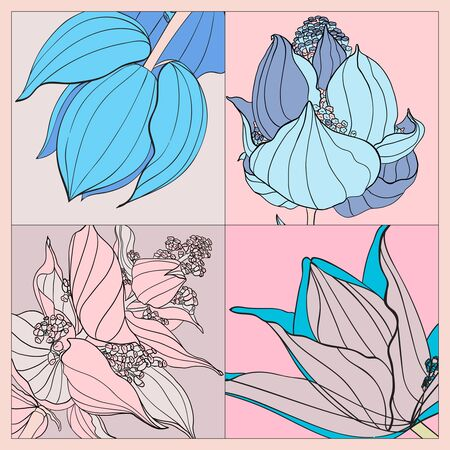 Colorful silk scarf with flowering medinilla. Pink, blue, violet and pastel colors.