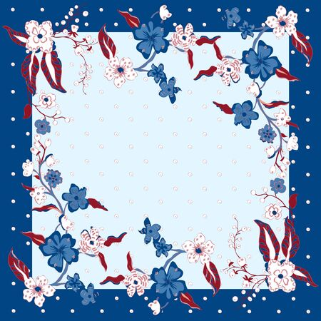 Lovely tablecloth ethnic flowers. Beautiful vector ornament. Card, bandana print, kerchief design, napkin. Dark blue beige ornate pattern on pastel vlue. Ready for print.