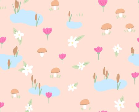 Spring flowers seamless pattern on pink background. Cute childlike style holiday background.