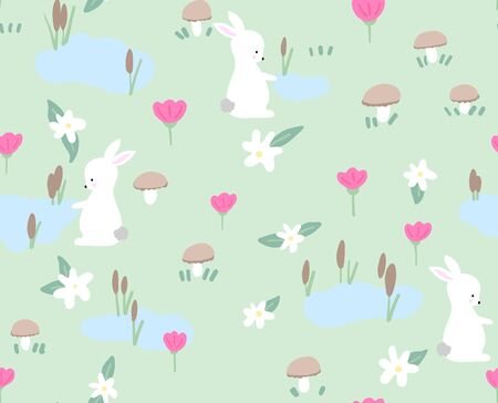 Bunny with spring flowers seamless pattern on green background.